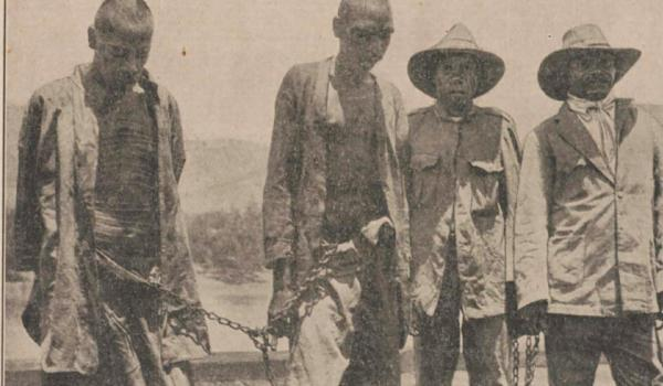 Two men sentenced to death and two black trackers - Wyndham WA. The man on the left is Lumbia, sentenced for the murder of pastoralist Fred Hay, which led to the 1926 'Forrest River Massacre' of Oombulgurri people