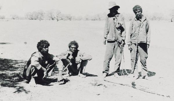 Wyndham, Kimberley WA 1947. Mirriwong men taken by police as they were suspected of suffering from Leprosy (Hansen's disease)