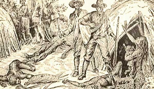 'Dispersing' in the Rainforest, in Black Police: A Story of Modern Australia by AJ Vogan (1889).