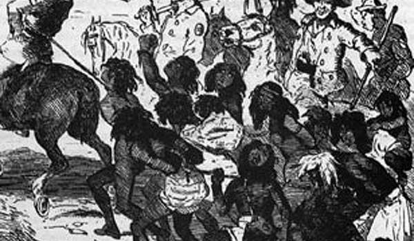 The Myall Creek Massacre. Note the rope binding the Aboriginal people together and the little child on the back of her mother on the far right. Published in The Chronicles of Crime, 1841.