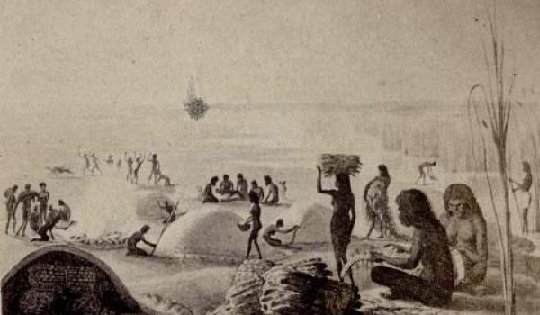 These earth/clay kilns are not houses, but we imagine they could build houses in the same manner if they had reason to. Sketch by explorer Wilhelm von Blandowski  c 1849–1859 - Murray Darling region.
