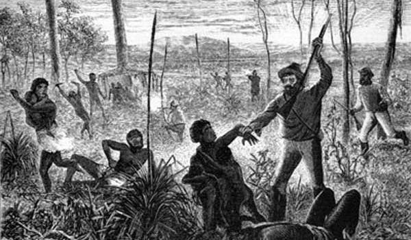 Massacre: an illustration from the 1800s shows a group of white vigilantes in action. (Image: Illustrated Christian Weekly 24 Dec 1880)