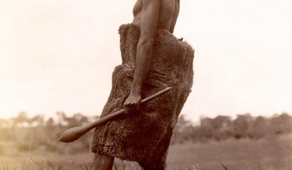 Ngarrindjeri or Kaurna elder wearing a kangaroo cloak in a manner suggesting warmer weather, carrying a club in one hand and a spearthrower at the ready in the other, South Australia, in the late 19th century