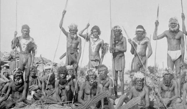 A group of warriors show their hair ornamentation in Western Australia in 1895 - Restored by IDIDJ Australia