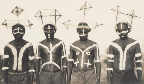 Dancers wearing head ornaments called waninga in Broome, Western Australia, about 1926. R. A. Bourue / IDIDJ Australia