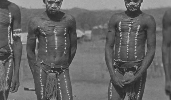 Men in traditional ceremonial dress in Port Hedland, WA, about 1930-35. Norman Henry James / IDIDJ Australia