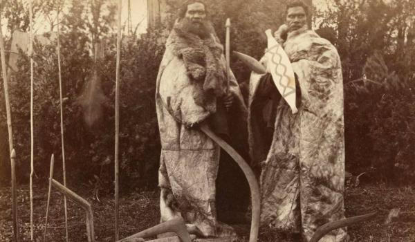 Kulin nation men, Victoria, in 1883. Beneath the possum skin cloaks would be highly patterned cicatrisation/scarification on the chest and shoulders marking men of high distinction -  Fred Kruger / IDIDJ Australia