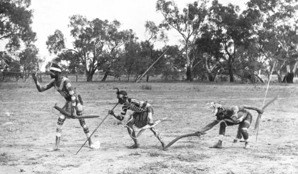 This photo likely shows men tracking game, going by the handwritten annotation on the bottom left. Taken about 1900 - Charles Kerry / IDIDJ Australia