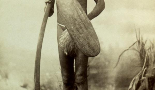 acky Yeralena also known as Caldi Caldi from between Lake Eyre and Lake Blance in South Australia, 1892. He is shown with long, hand-held, fighting boomerang and shield - James Taylor / IDIDJ Australia