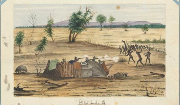 Bulla Queensland 1861 conflict Settlers under attack from Aboriginal tribe. watercolour by W.O Hodgkinson (National Library of Australia)