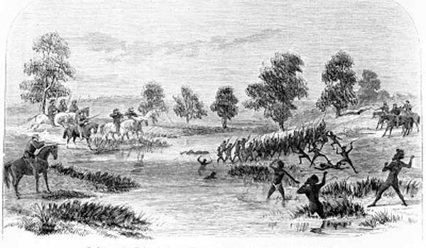 Rufus River Massacre  (State Library of Victoria, IMP27/07/66/308, engraving by Samuel Calvert)