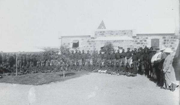 Aboriginal prisoners in the courtyard of the Rottnest Island Prison ca. 1883 (State Library of Western Australia, 6968B)