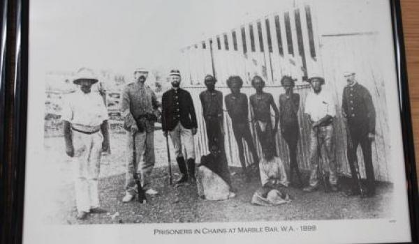 Prisoners in chains at Marble Bar, Pilbara, Western Australia in 1898