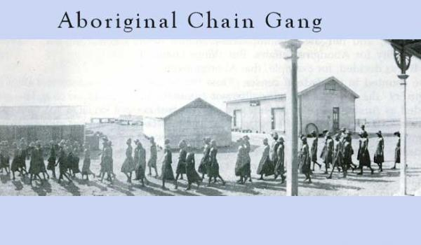 An Aboriginal chain gang, about 1900, going to work at Wyndham, Western Australia. The guard is on the extreme right - visable when enlarged