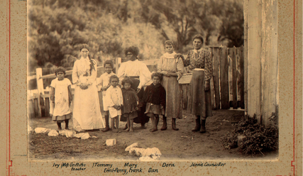 The 'half-castes' of Ellensbrook in 1902, from left to right: Ivy, Miss Griffiths, Tommy, Emil-Penny, Mary, Frank, Dora and Jennie (Jean Jane) Councillor