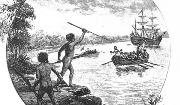 Artwork depicting the first contact that was made with the Gweagal Aboriginal people and Captain James Cook and his crew on the shores of the Kurnell Peninsula, New South Wales