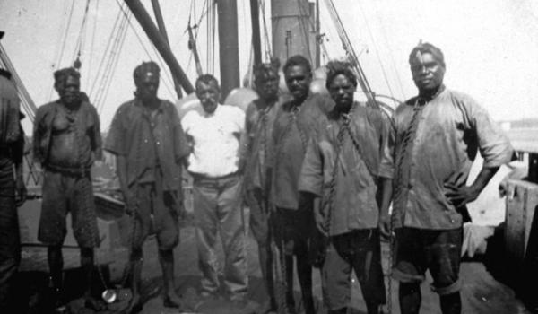 WA Aboriginal prisoners on steamship, either being taken to Roebourne or Rottnest Island Prisons