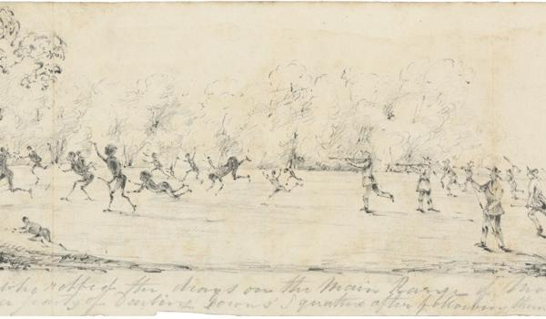 1843 — Jagera people, led by Multuggerah, block supply routes to the Darling Downs. This leads to a violent confrontation in the Lockyer Valley between squatters and Aborigines known as the Battle of One Tree Hill where the squatters are defeated. This sketch depicts an attack by squatters on an Aboriginal camp, in retaliation for the Battle at One Tree Hill in 1843. Pencil Sketch by Thomas Domville-Taylor, from the Patty Ffoulkes Scrapbook, 1840-1844
