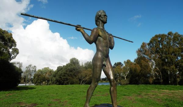 Yagan statue, Heirisson Island, Perth, Western Australia. The statue was sculpted in 1984 by Robert Hitchcock - Yagan c. 1795 – 11 July 1833) was an Indigenous Australian warrior. From the Noongar people, he played a key part in early resistance to British settlement and rule in the area surrounding what is now Perth, Western Australia.