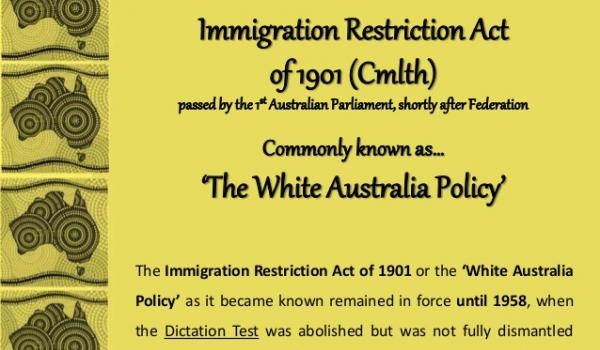 The imagination test of 1901 - http://www.slideshare.net/yaryalitsa/a-law-unto-oneself-the-road-to-nationhood-the-immigration-restriction-act-the-white-australia-policy