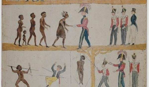 Caption	Governor Davey's [sic - actually Governor Arthur] Proclamation to the Aborigines, 1816 sic actually c.1828-30 (State Library of NSW)