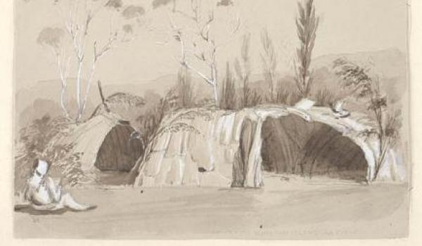water colour sketch of Aboriginal housing in Moreton Bay, probably on Stradbroke Island near Amity Point circa 1848 by Owen Stanley on HMS Rattlesnake
