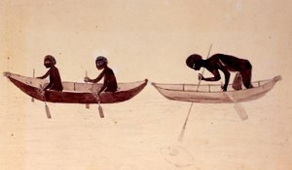Bark canoes. This may record the fishing party observed by Joseph Banks at Botany Bay on 26 April 1770. 1768-1771 (British Library)