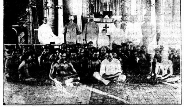 1909. Chained Native Prisoners in Nor'West Church.