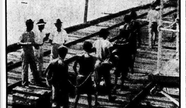 Convicted of murder and being transported to Broome - Wyndham jetty 1936