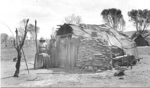 1908 Derdibin. 'Native camp' on on Derdebin Rock, near Northam WA