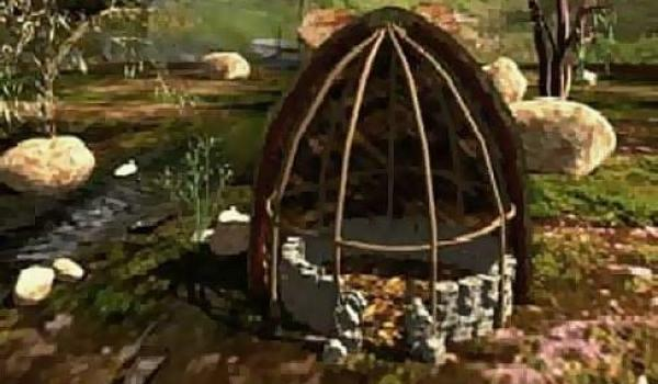 A cross-section of a Gunditjmara dwelling made with rocks, peat sods and reeds (ABC TV)