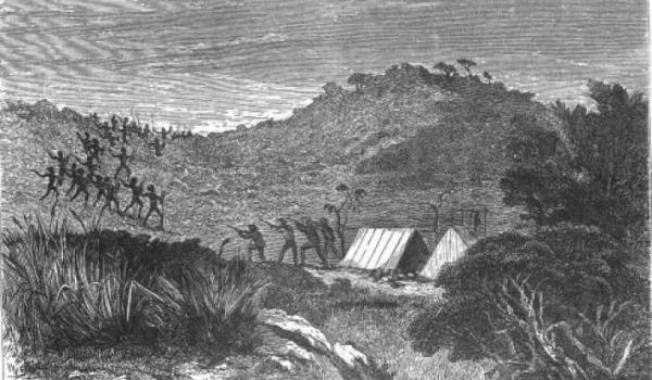 "A drawing of the John Forrest story at the Canning stock route where they admitted to hogging the water hole ... Back to reality: ""It was night time, ….. old people sitting down around fire singing. 20 yards away old people saw him, a white one. One man got up and tried to spear him, they shot him, then shot another. Next day old people tried to come to get water at the spring. They had built a fort, biggest mob came in – they killed 'em, dragged 'em like a dog.."" (Senior Martu man, 2010)"