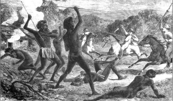 Massacres by settlers took place in most regions settled before the early twentieth century (Fig. 3: Australian Aborigines — War. [Calvert Collection, Mitchell Library, State Library of New South Wales.])