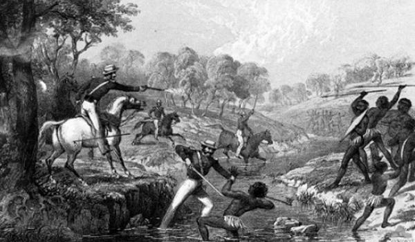 'Mounted Police and Blacks' depicts the killing of Aboriginals at Slaughterhouse Creek by British troops. Australian War Memorial image ART50023