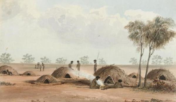 Native village detail of Village near Mt Shannon Watercolour sketch by J. H. Le Keux in Sturt 1849