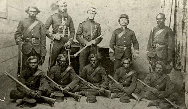 The Native Police Forces were established in Port Phillip in 1842 in New South Wales and 1859 in Queensland. The force was built up of young Aboriginal men who were sent to kill Aboriginal people of different language groups. This was a vital contribution to the defeat of the Aboriginal resistance.