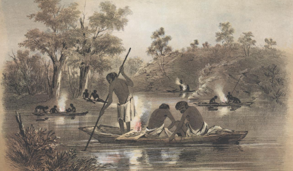 Night Fishing by S. T. Gill - From The Australian Sketchbook 1864