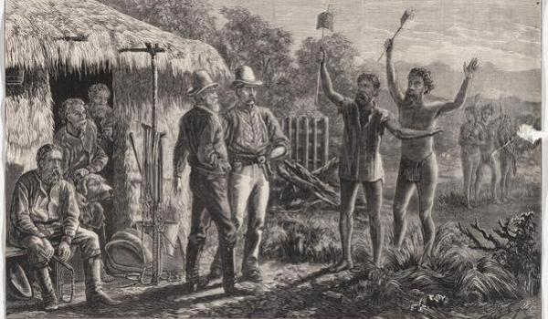 'Arrival of blacks with flags of truce' This engraving depicts the traditionally mythologised reception the Aboriginal people showed the  British colonisers; a genial and peaceful welcome -- a  depiction and its implications now questioned by Australian history researchers