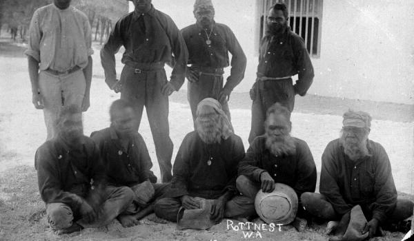Aboriginal prisoners on Rottnest, 1920s. Courtesy State Library of Western Australia, The Battye Library 007180
