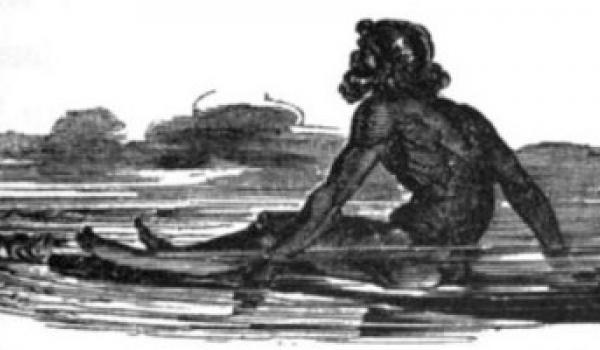 Raft rider, off Lewis Island, Northern Australia, 1818. From Phillip Parker King: Western Coast of Australia (1827),  King observed, three natives, each native was seated on logs of wood, which he propelled through the water by paddling with his hands. The logs were mangrove tree stems; two or three logs were neatly and even curiously joined together.