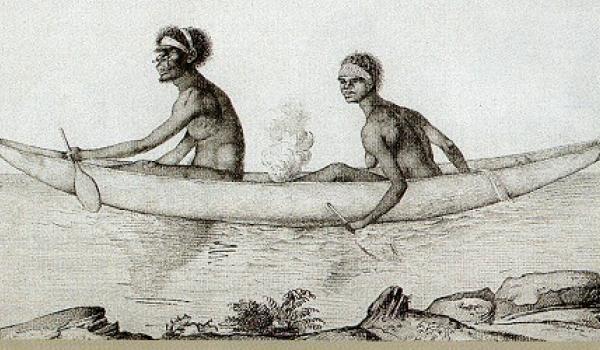 Van Dieman's Land Aborigines carrying fire in their canoe, 1802 - ( Nicholas Petit: Museum d'Historie naturelle, Le Harve)