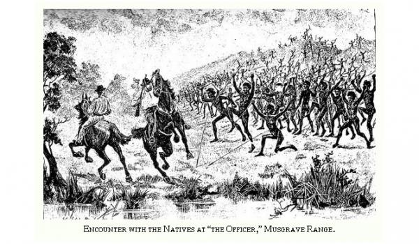 Ernest Giles Expedition in 1873 encounter up to 200 Aboriginal people with warriors on the front line in Central Australia - Online journal Free eBook https://ebooks.adelaide.edu.au/g/giles/ernest/g47a/complete.html