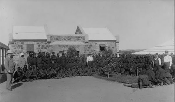 Aboriginal prisoners in the courtyard of the Rottnest Island Prison