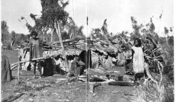 Aboriginal Camp on the Roper River, Northern Territory 'Paperbark Mia Mia'