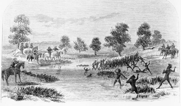 Known as the Rufus River Massacre (State Library of Victoria, IMP27/07/66/308, engraving by Samuel Calvert)