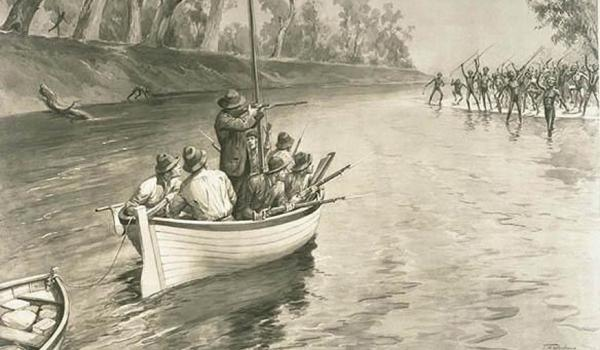 "An illustration of the explorer Charles Sturt's party being ""threatened by blacks (sic) at the junction of the Murray and Darling, 1830"", near Wentworth, New South Wales.  National Library of Australia picture nla.pic-an9025855-1. 'Sturt's party threatened by blacks at the junction of the Murray and Darling, 1830'."
