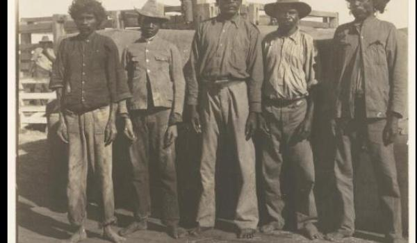 Beileived to be 'Five Aboriginal police trackers', Kimberley, Western Australia, ca. 1900