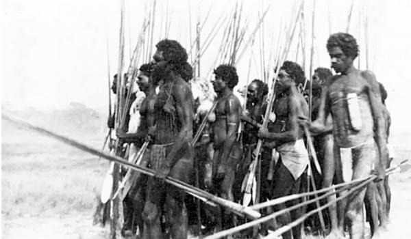 Aborigines from Arnhem Land, Northern Territory, c1920s. The pattern of frontier violence that had developed in the east and south of the Australian continent was still evident in the Northern Territory and Kimberleys in the early decades of the 20th century. As late as the 1930s Europeans were encountering armed resistance from Aborigines in Arnhem Land, east of Darwin. Source: Fryer Library, Ernestine Hill Papers, UQFL18, Box 30, Env 6 [b19733616]