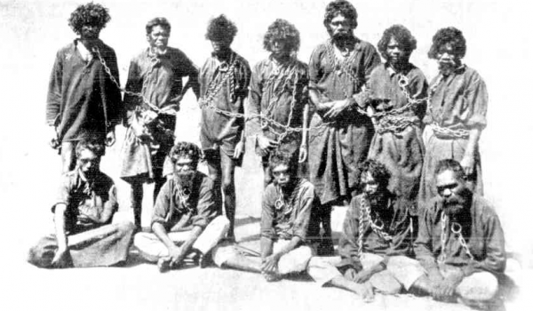 Aboriginal Prisoners in chains WA - From 'The Weekly Times' 27 July 107