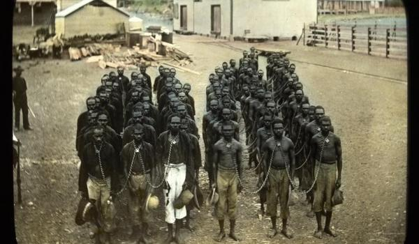 'Aboriginal bathing gang in Wyndham', The photo which is a 'lantern slide' has subsequently been colourised (and reversed) and is held, for reasons unknown, in the State Library of Victoria.